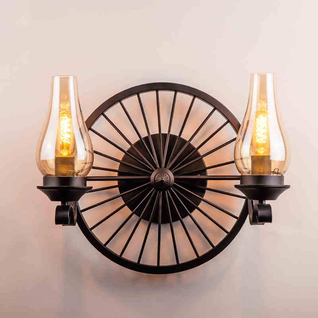 WHKHY Wall Lamp Retro Style Night Table Lamp in Aisle Style Lounge The Bedroom Wall Lamp, Irons Lights Wall Lights Lamps Retro,C