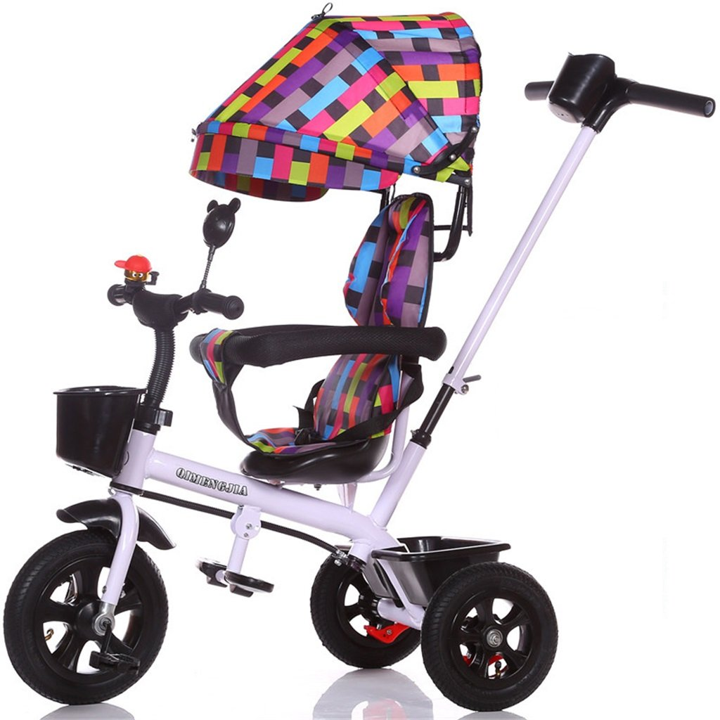 Multifuncional 4-en-1 Sports Edition Trike Triciclo infantil Kid Carrito con Anti-UV Awning y Parent Handle para niños de 1-3-6 años Boy and Girl Baby (Vitality White Bike) ( Color : A )