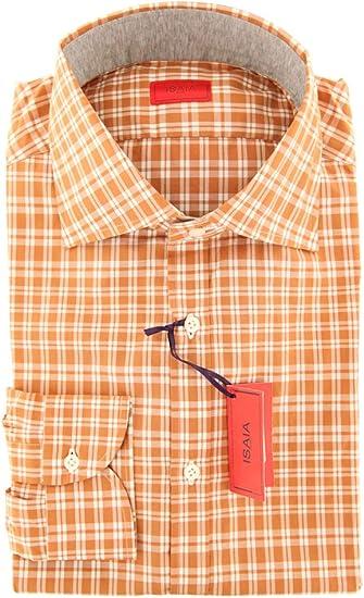 Isaia Plaid Button Down Spread Collar Cotton Slim Fit Dress Shirt