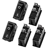 uxcell 5 Pcs SPST On/Off Black Snap In Boat Rocker Switch AC 250V/22A 125V/20A UL Listed