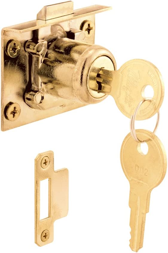 Prime-Line Products U 10665 Spring Loaded Drawer and Cabinet Lock Mortise, Brass