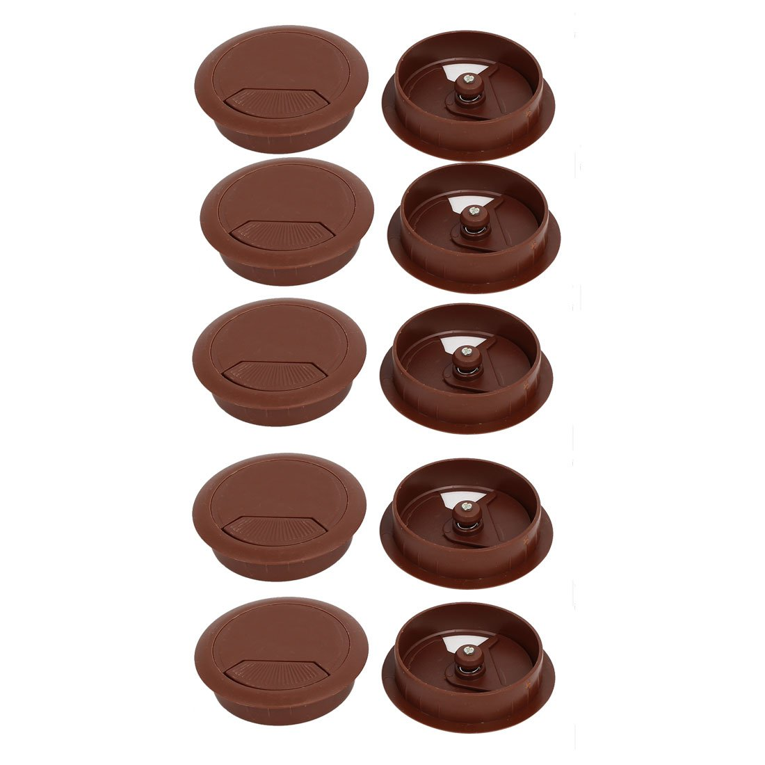 uxcell Computer Desk 60mm Dia Plastic Adjustable Grommet Cable Hole Cover Brown 10pcs
