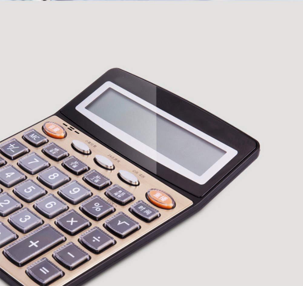 CalculatorVoice Calculator  12 Digits Plastic Button  Large Screen Display  Alarm Calendar  Metal Panel (Gold038)