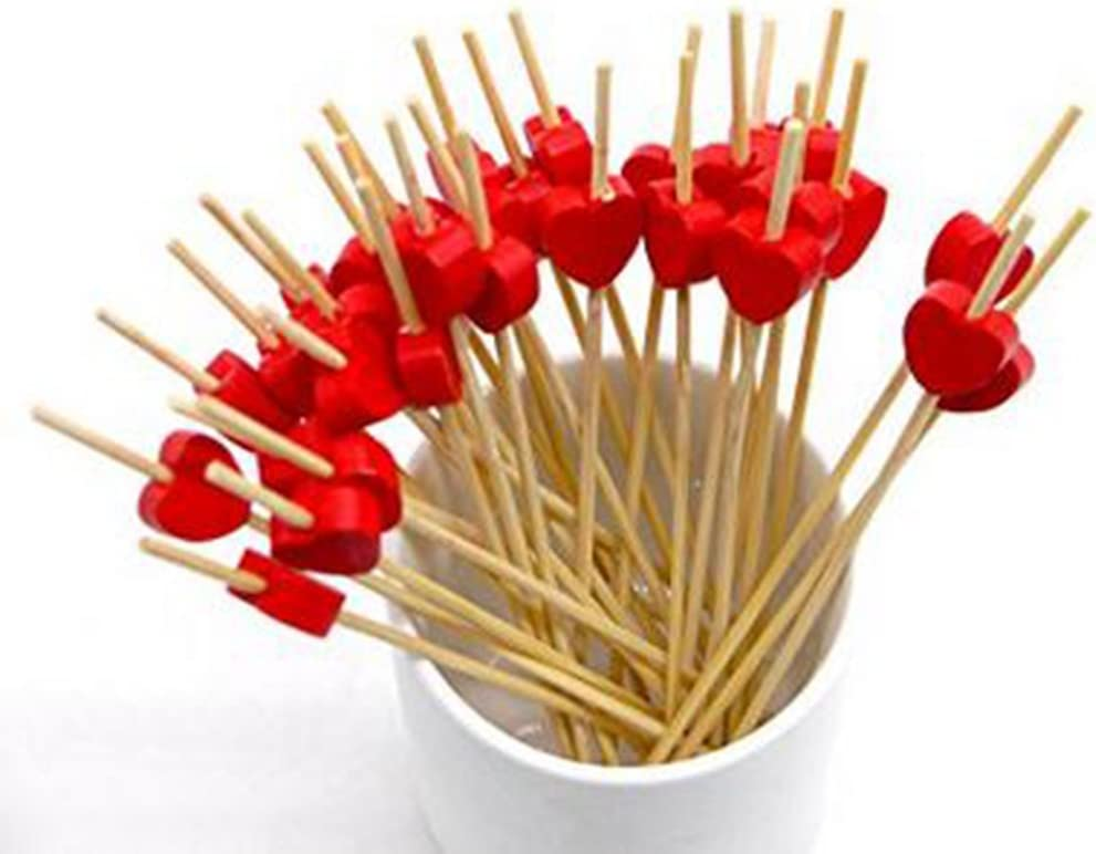 Gespout Cocktail Sticks Sandwich Fruit Picks Sticks Wooden Stick for use in hotel bar Caf/é Various Parties and Home Pink