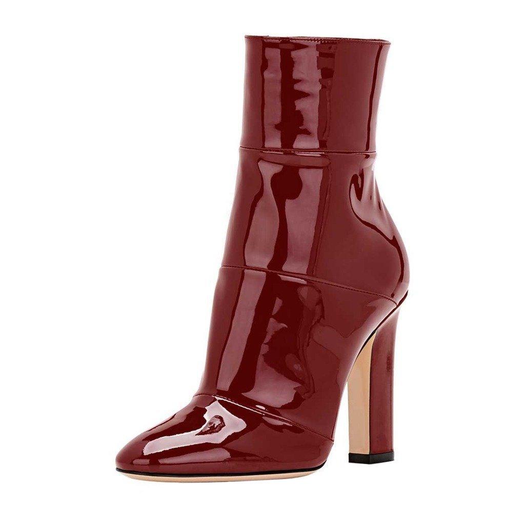 Jushee Booties Stiefeletten für Frauen Kleid High Block Chunky Heels Schuhe Pumps Rot