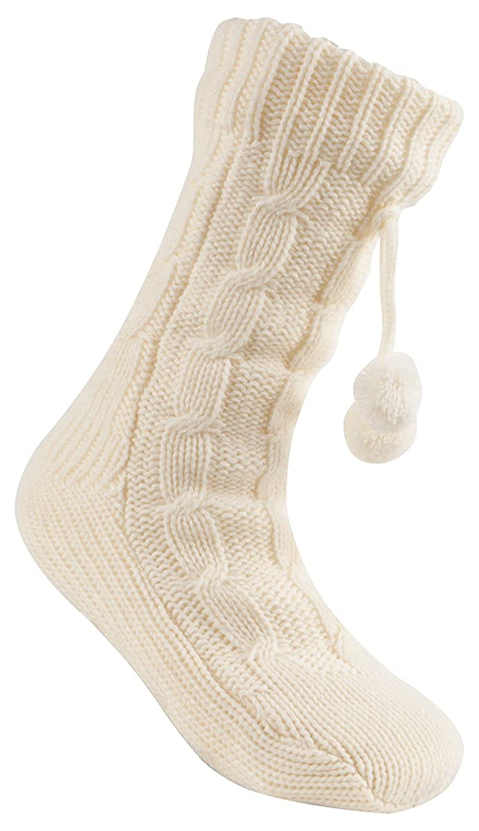 Forever Dreaming Cable Knit Plush Lined Non-Slip Slipper Socks