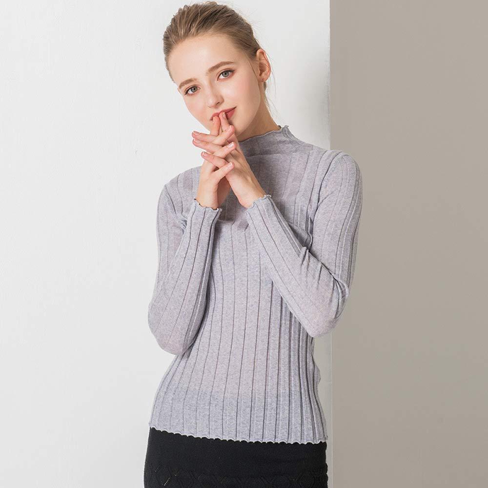 YWJHY Camicia a Maniche Lunghe Autunno e Inverno in Maglia a Maniche Lunghe a Maniche Corte Slim Alta Sezione Maglione Colore Solido Abbigliamento Femminile