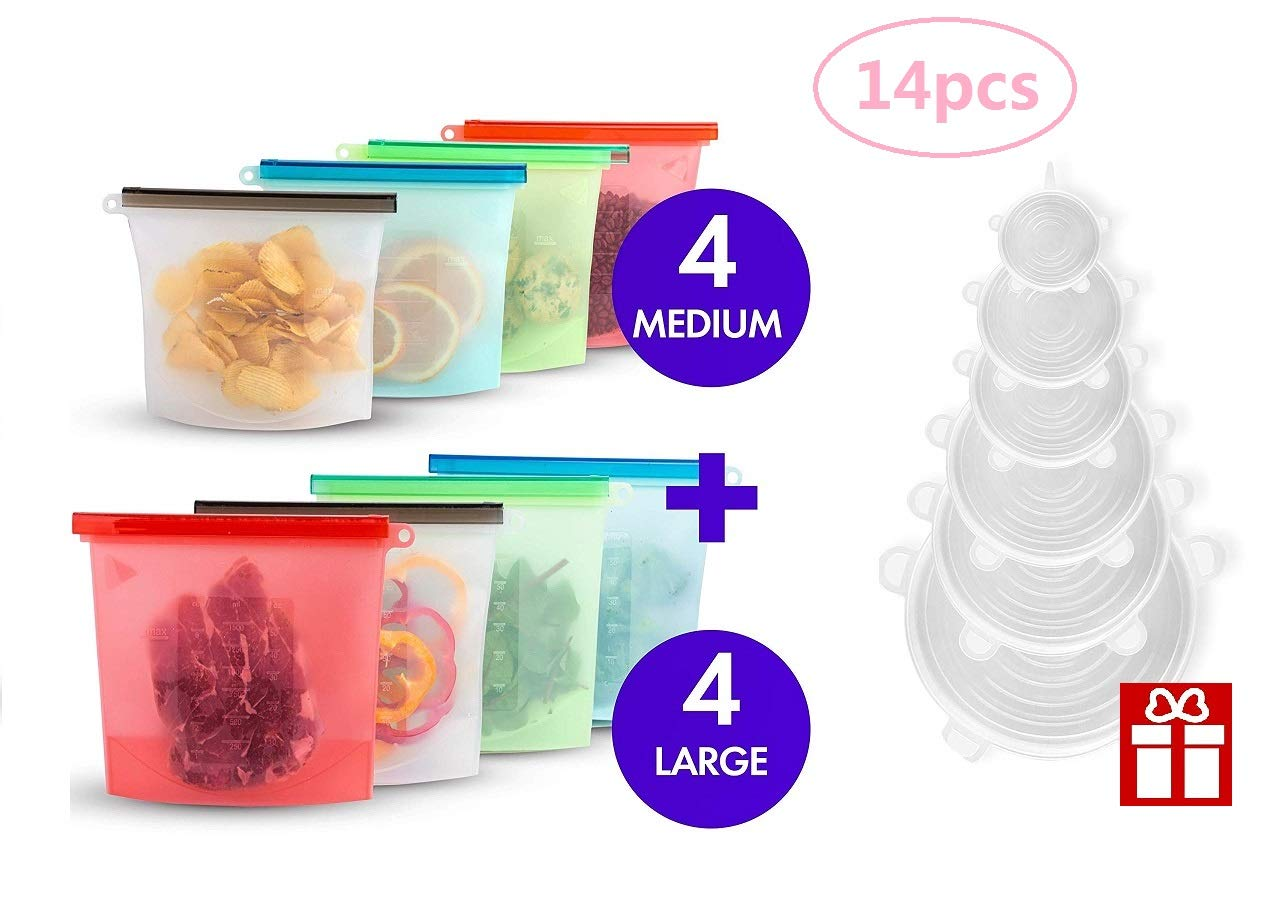 CHALOO (14PCS)Reusable Silicone Food-Storage Cooking Bags,Stretch Lid Covers for Bowls, Pots, Cups | BPA Free, Sealable, Airtight, Leak Proof | Microwave Safe by CHALOO (Image #1)