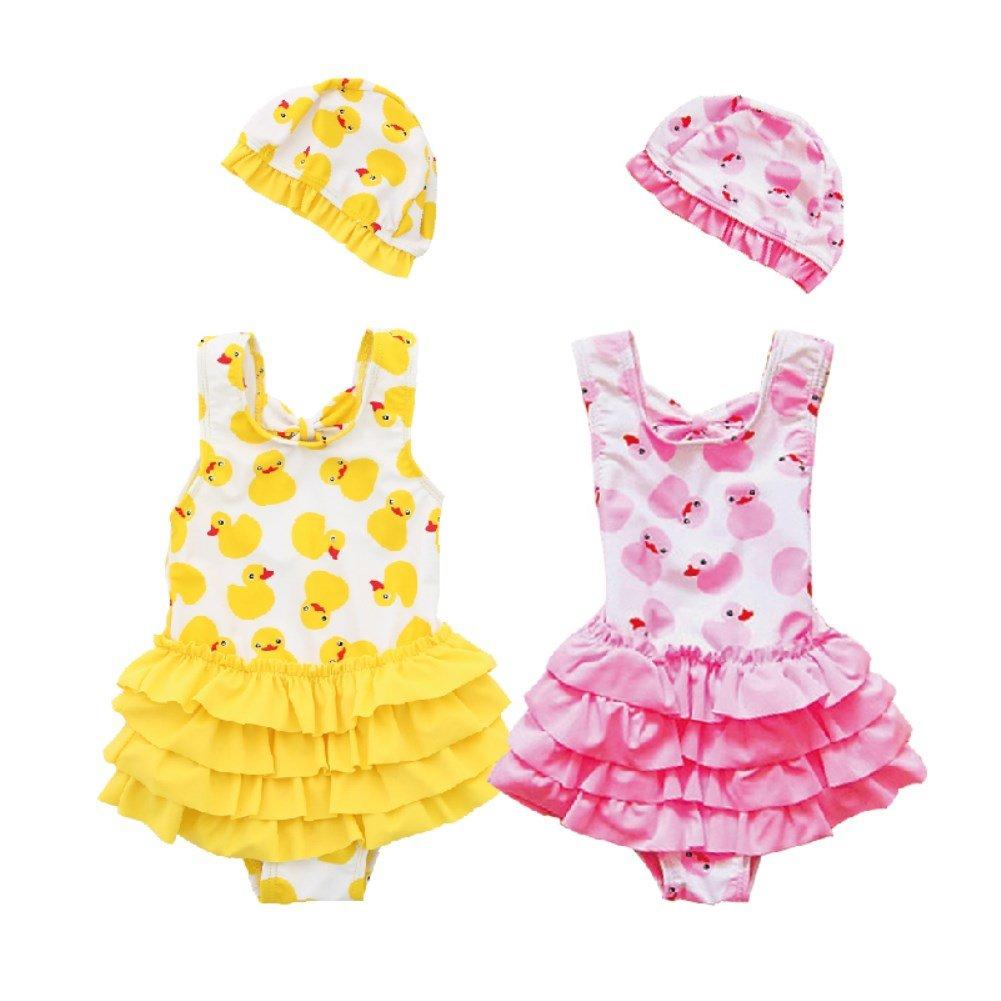Cartoon Duck-Baby Girls Chiffon Bow Top Tutu 2Piece Tankini Swimsuit Swimwear