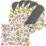 Wegreeco Bamboo Reusable Sanitary Pads - Cloth Sanitary Pads | Bladder Support & Incontinence Pads | Reusable Menstrual Pads - Pack of 5, 1 Cloth Mini Wet Bag Bonus (Small, Lovely Bird)