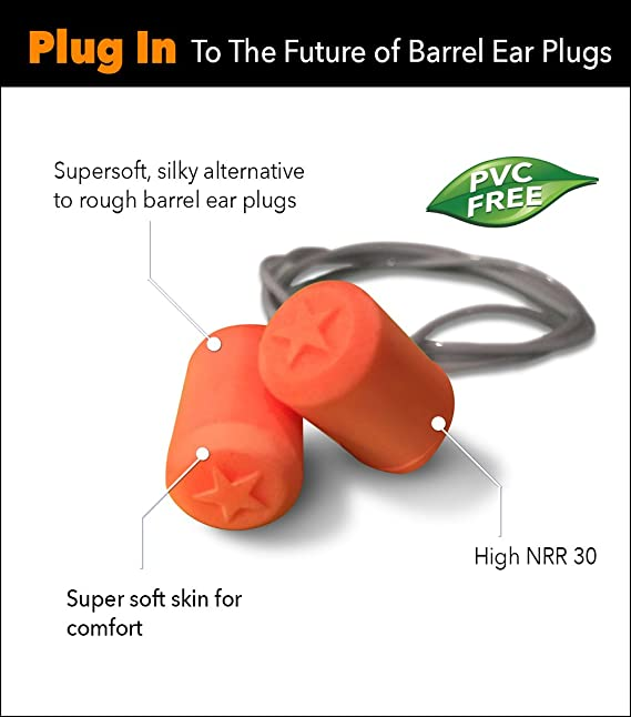 amazon com: hearos 7311 softstar nexgen cylindrical disposable polyurethane  earplugs, nrr30, corded, regular, orange (100 pair): industrial & scientific