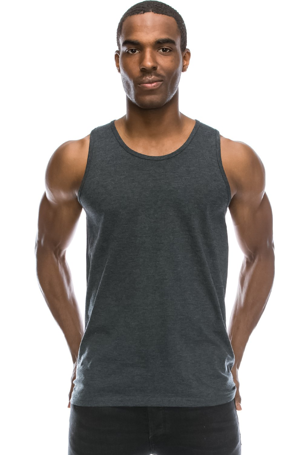 JC DISTRO Mens Hipster Hip Hop Basic Running Solid Charcoal Tank Top Large