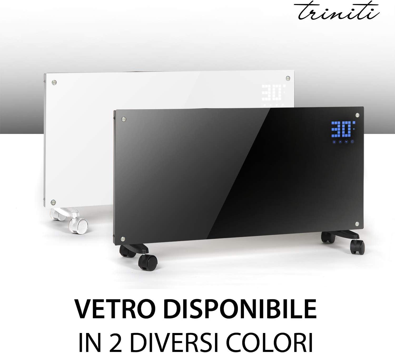 Triniti Tr_Hg_W - Panel termoconvector, calefacción eléctrica, radiador de cristal de convección 1000-2000 W, pantalla táctil con mando a distancia, 2 ajustes, montaje en pared, cristal blanco
