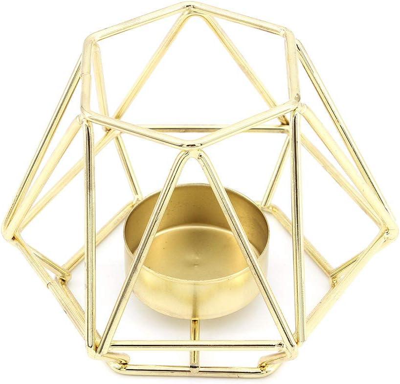 MoYouno Juego de 2 Piezas de Soporte de luz de t/é de Metal candelabro Decorativo de Hierro Hueco Gold Fiesta Adorno para el hogar para Sala de Estar Boda