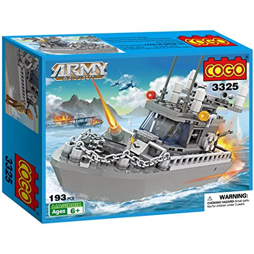 COGO Army Warship Toys Building Blocks Patrol Boat Toys for Boys 6-12 DIY Construction Brick Set 193 Pieces (Warship Set Boat)