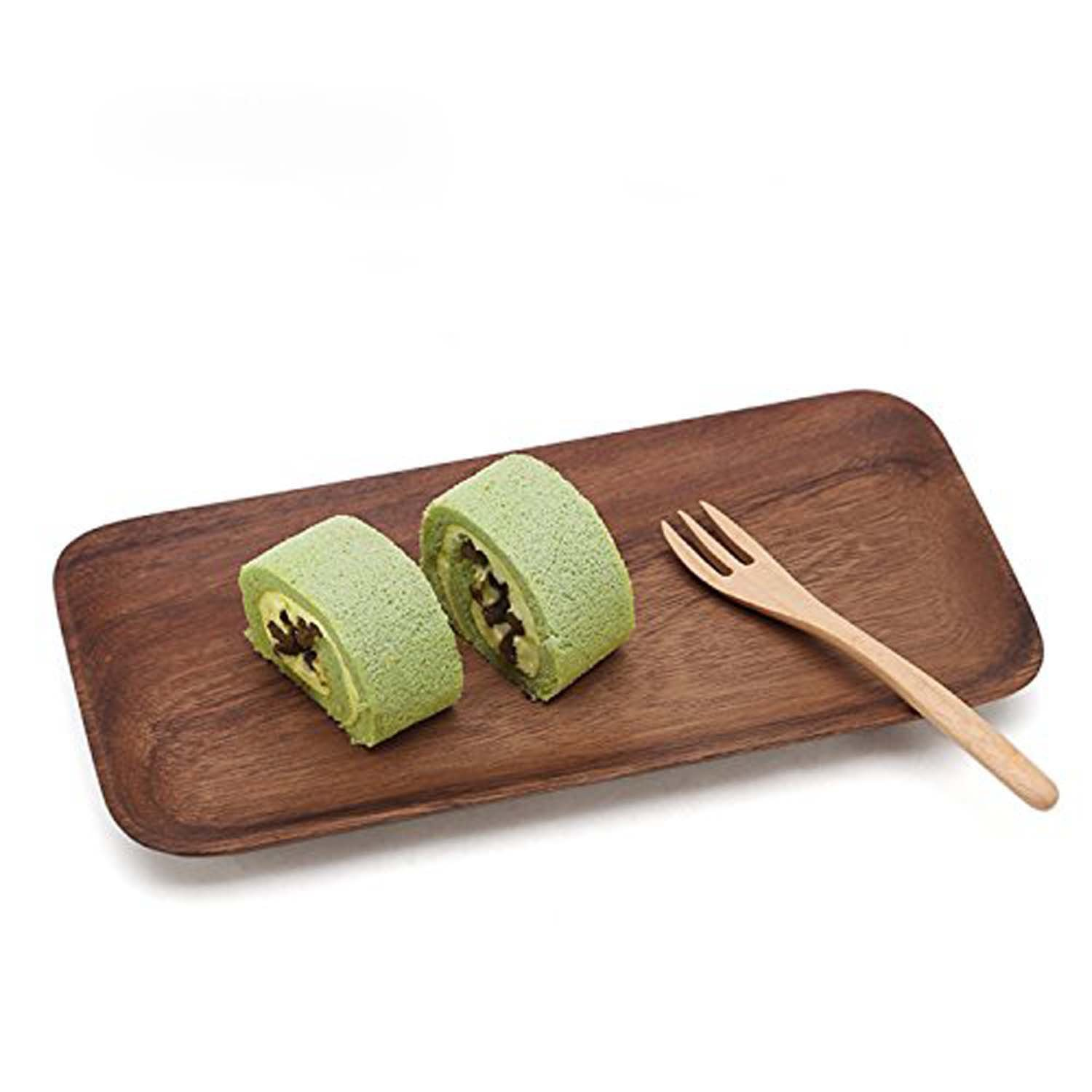GOHIDE Rectangle Natural Wood Plates,Acacia wood plates,Square serving plates,Serveware,Serving Dishes,Trays and Platters for Food Fruit Tea,Handmade wooden Plate,Platters For Dessert Snack 25x16.2cm