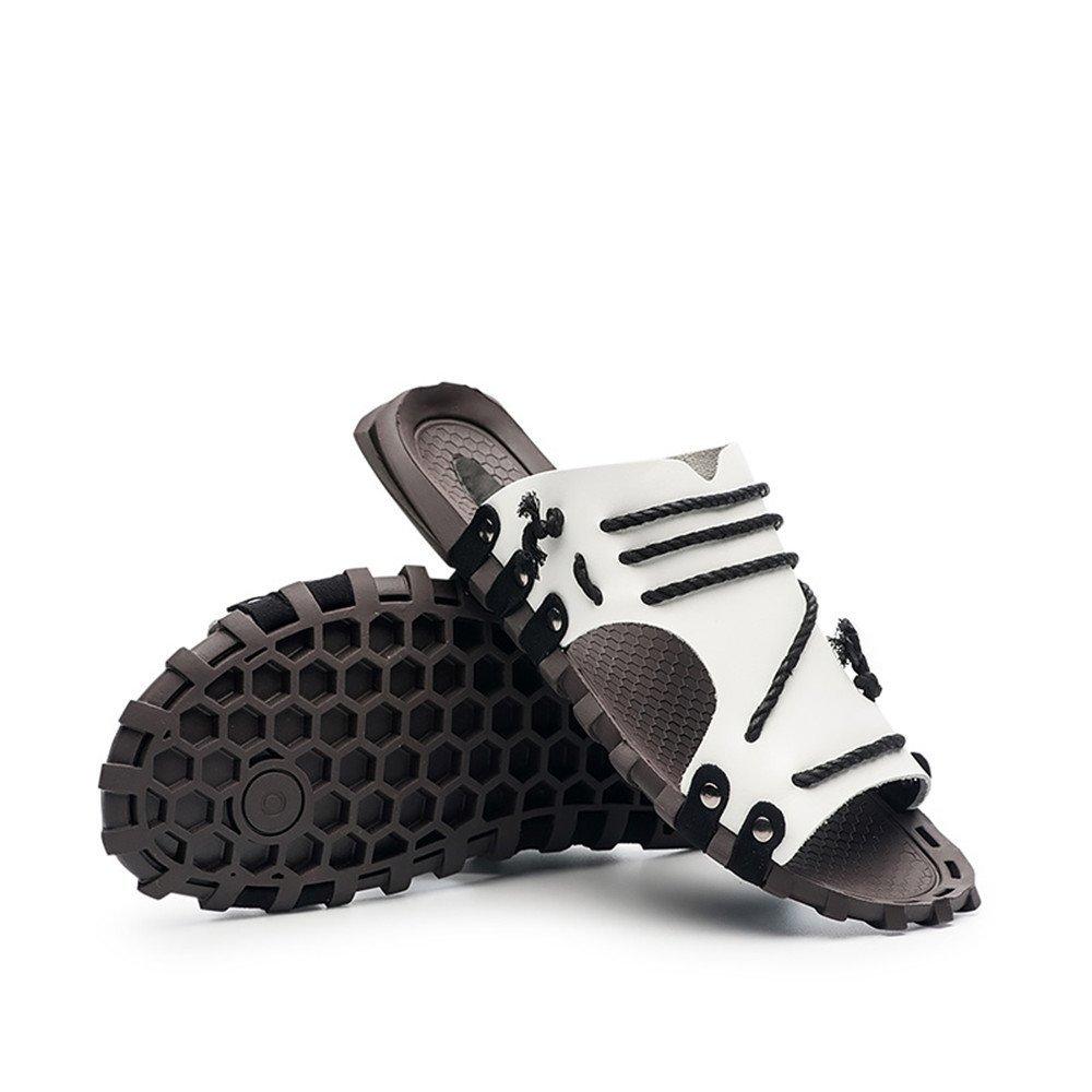 Sandalia de la Suela Antideslizante Superior del Cuero Genuino del Deslizador de la Playa de los Hombres con la decoración de la Secuencia 47 EU|Blanco