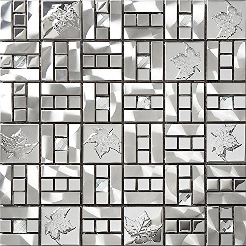 Mosaic Maple Leaf (13 facets Diamond glass brick stainless steel blends strip mosaic tiles,Maple leaf pattern printed design Kitchen backsplash/Home wall decoration glass tiles)