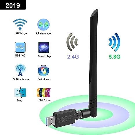 UGLANCE Adaptador WiFi USB 3.0, Receptor WiFi USB para PC ...