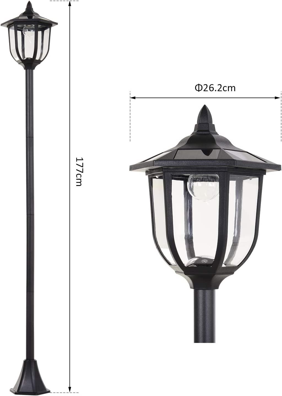 Black Outsunny Outdoor Garden Solar Post Lamp Sensor Dimmable LED ...