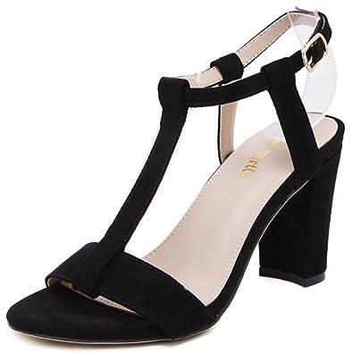 COOLCEPT Mujer Moda Correa de Tobillo Sandalias Tacon Ancho Punta Abierta Zapatos (34 EU,Black)