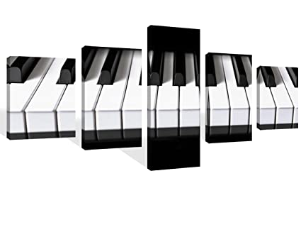 Black And White Bedroom Wall Decor Piano Keys Paintings Keyboard Pictures Music Wall Art 5 Piece Canvas Modern Artwork Home Decor For Living Room