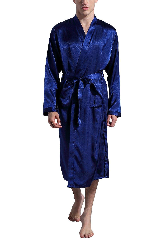 Dolamen Herren Morgenmantel Bademäntel Kimono, Weich u. Leicht glatte Luxus Satin Nachtwäsche Bademantel Robe Negligee locker Schlafanzug mit Belt & Pockets