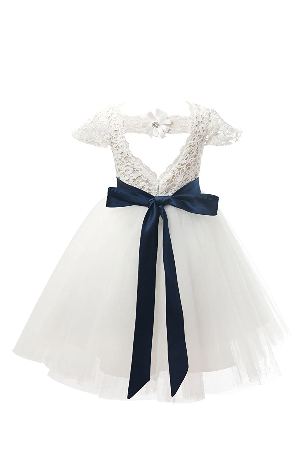 cfb858b221f Ivory lace bodice with inside sweetheart neckline Cap sleeves  Navy blue  belt with bow on back  knee length  Perfect for wedding party