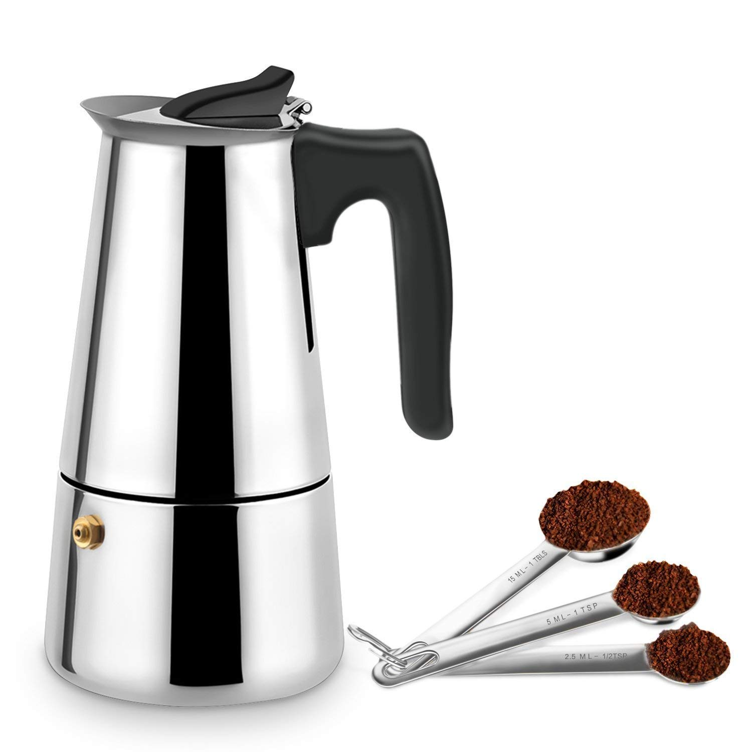 YOULANDA Stovetop Espresso Maker Stainless Steel Moka Pot Italian Coffee Maker 9 Cup, Use for Gas Stove Top CrystalRao