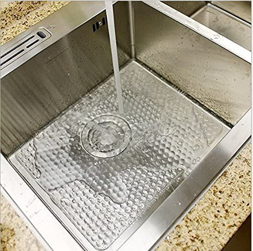 RUBBERMAID BLACK SINK MAT PROTECTS GLASS FROM BREAKING HOLES FOR DRAINAGE