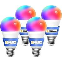 Meross Bombilla LED Multicolor, Inteligente, Wi-Fi, Regulable, Mando a distancia, 9W, E27, 2700-6500 K, Compatible con…