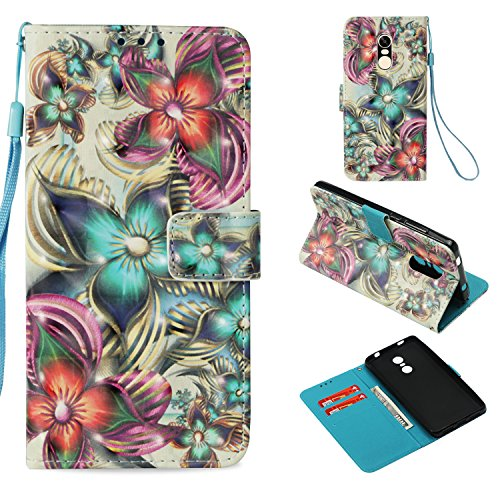 StarCity Case for Xiaomi Redmi Note 4/4X, 3D PU Leather Folio Flip Cover Wallet Case With Credit Cards Pockets For Xiaomi Redmi Note 4 (Flower Blossom Aqua)