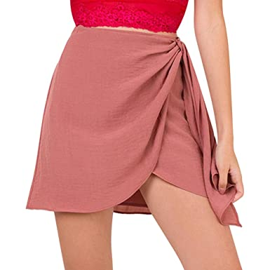 f4d81523786a Là Vestmon Women s Summer Tie up Beach Short Skirts Vintage High Waist  Halter Skirts Bodycon Wrap