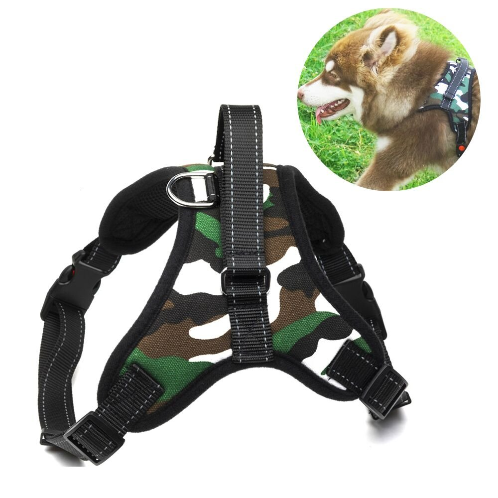No Pull Dog Harness Vest - Menyda Adjustable Reflective Dog Harness With Handle (S-Camouflage)