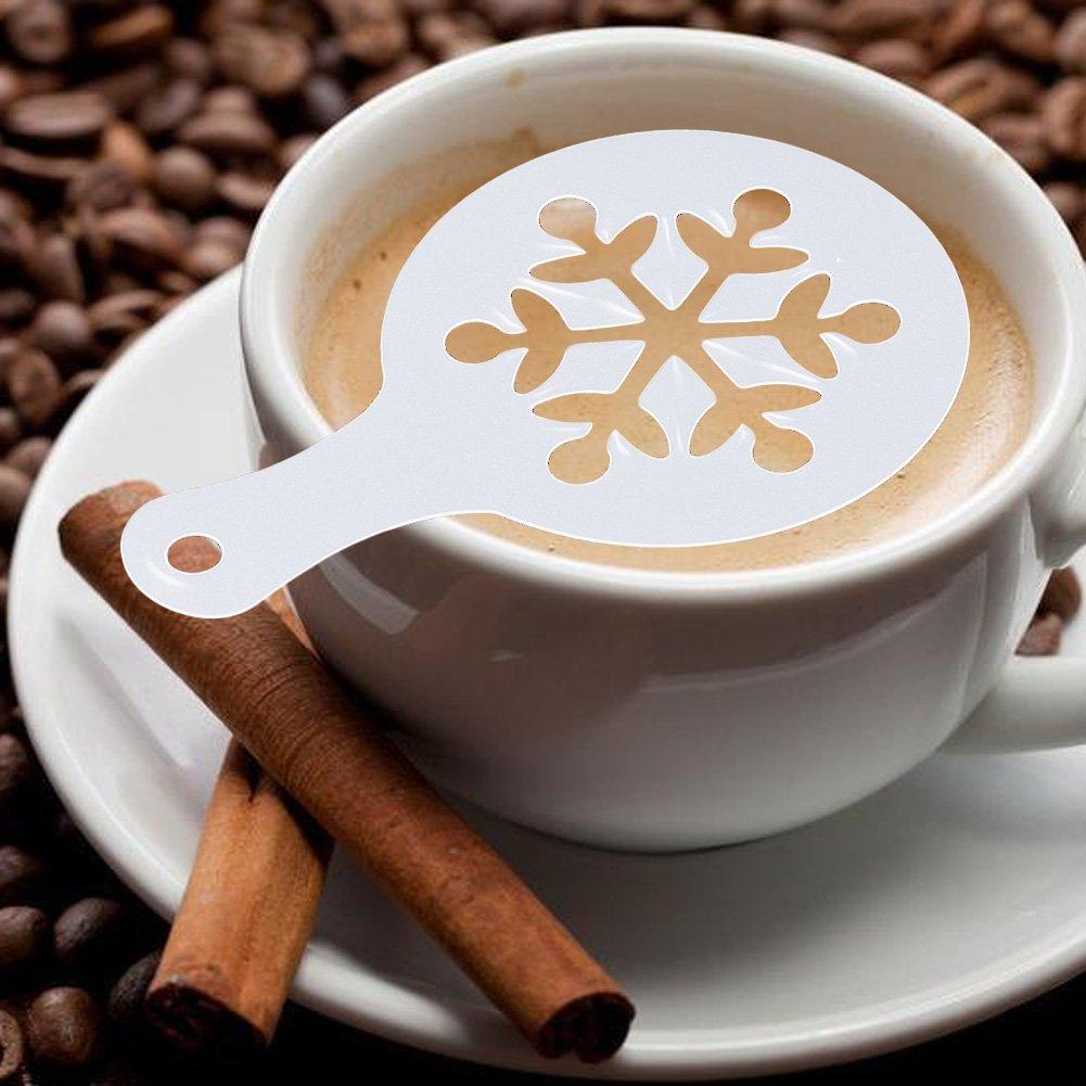 Natale decorazione stile 8fogli Cappuccino Stencil caffè spargi cacao spargitori Lianle