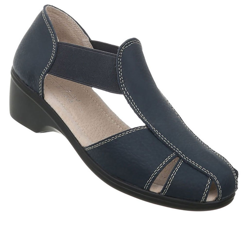Damen Schuhe Sandalen Leder Pumps40 EU|Modell Nr.1dunkelblau
