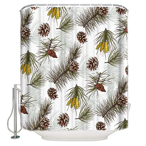 InvisibleWings Waterproof Polyester Fabric Shower Curtain Christmas Pine Cone and Pine Twigs Bathroom Decoration Unique Novel Printed Design Bath Curtains Sets with Hooks 36