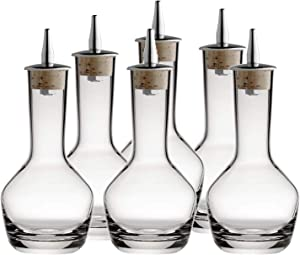 Bitters Bottle - Lead free Crystal Glass with Cork and Stainless Steel Dasher Top, 3-ounces Set of (6)