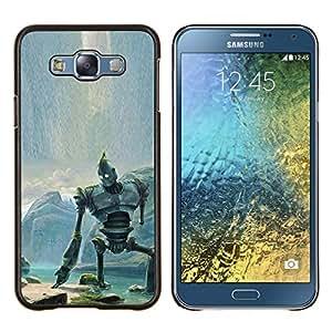 KLONGSHOP // Cubierta de piel con cierre a presión Shell trasero duro de goma Protección Caso - Gigante de hierro - Samsung Galaxy E7 E700 //