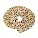 JINAO 14mm 18k Gold Plated All ICED Out Simulated Diamond Miami Cuban Chain Necklace (18.00)