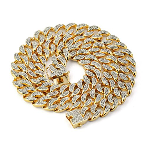 4dad9684ea633 JINAO 14mm 18k Gold Plated All ICED Out Simulated Diamond Miami Cuban Chain  Necklace (Gold