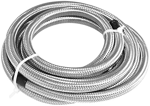 Silver Universal AN6 20Ft Braided Oil Fuel Hoses Line Stainless Steel and Nylon Fuel Line Tubing