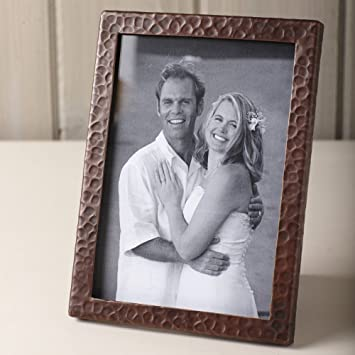 copper photo frame with hammered finish 5x7