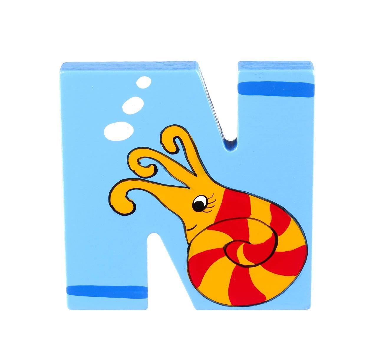 N f/ür Nautilus Orange Tree Toys Holzbuchstaben