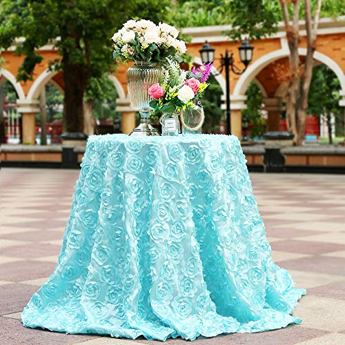 B-COOL Rosette Tablecloth Reusable Durable Sedate Linen for New Year/Dinner/Party/Wedding/Annual Meeting Baby Blue 120