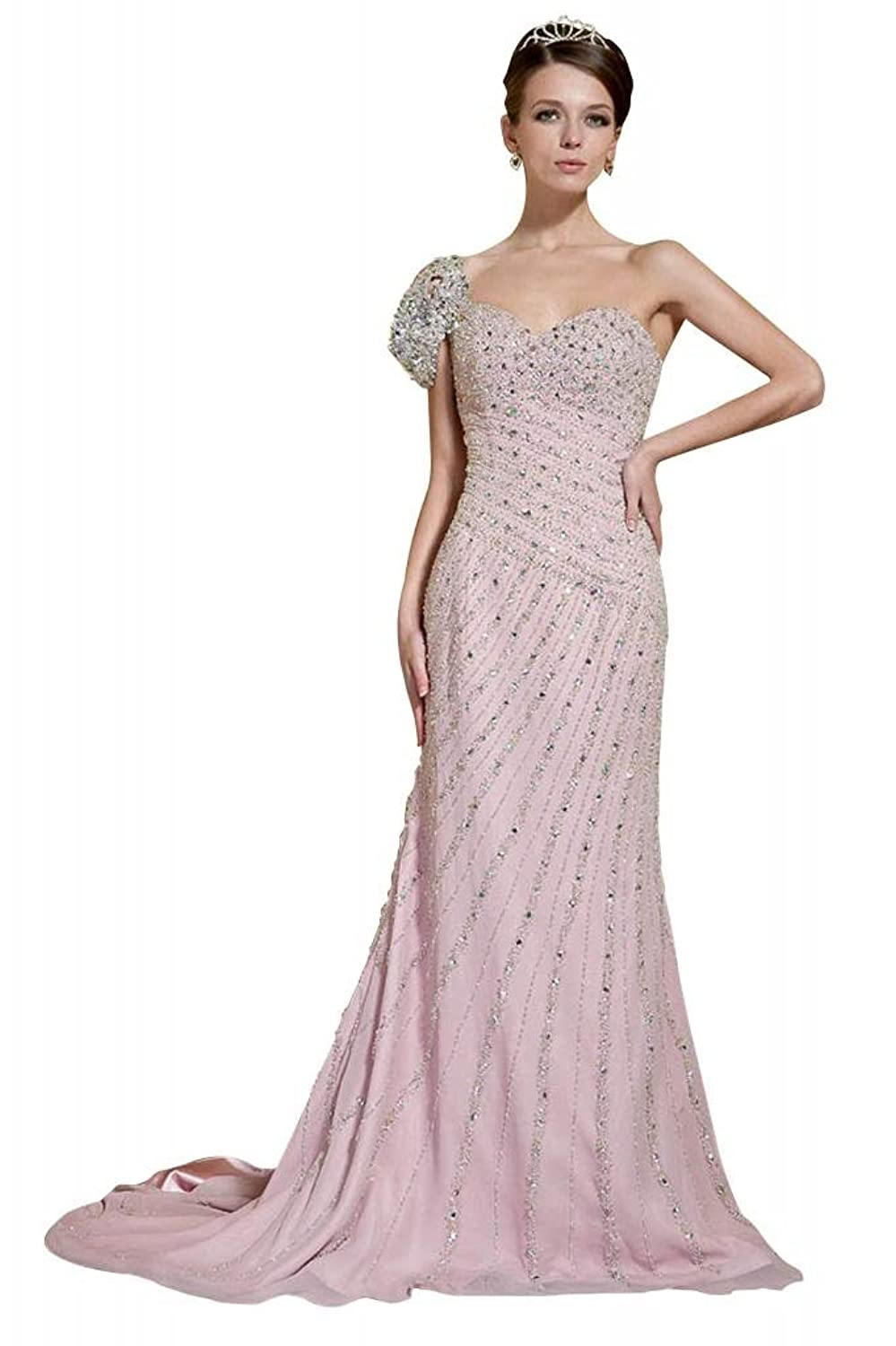 GEORGE BRIDE Goddness Luxury Evening Dress with Shining Sequins