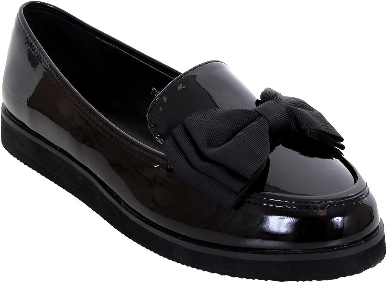 Fantasia Boutique Femmes Mocassins Semelle /Épaisse Creeper /École Dolly Travail Noeud Accent Verni Chaussures