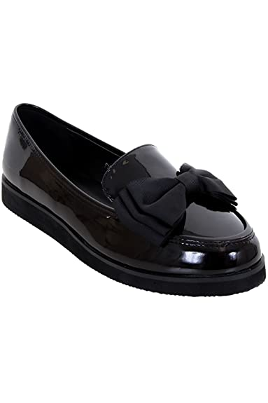 fa2cd5d1b0c Ladies Loafers Chunky Sole Creeper School Dolly Work Bow Accent Patent Shoes   Black