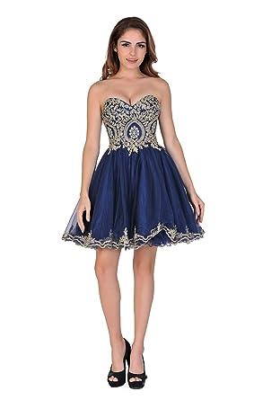 Amazon.com: Chic Belle Women Sweetheart Strapless Beaded Short Prom ...