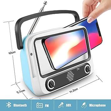 Altavoz Portátil con Radio FM - Bluetooth, Micrófono Incorporado, AUX entrada, Subwoofer inalámbrico - Altavoz recargable, USB entrada, lector de tarjeta, Aporta Manos Libres para smartphones, tablets: Amazon.es: Electrónica